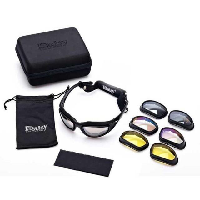 c77d09b4a18 Polarized Sunglasses Daisy C5 Military Goggles 4 Lenses Outdoor Tactical  Eyewear