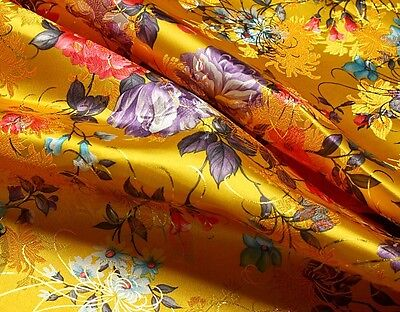 "1 meter by the yard peony flower brocade tapestry satin Fabric 27"" in 15 colors"