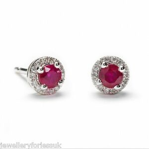 18Carat-White-Gold-Natural-Ruby-amp-Diamond-Halo-Pair-of-Studs-Earrings-0-54cts