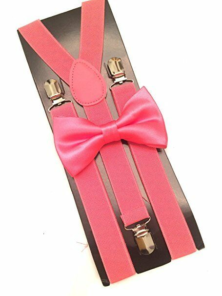 New Coral Pink Salmon SUSPENDERS And BOW TIE Matching Set Tuxedo