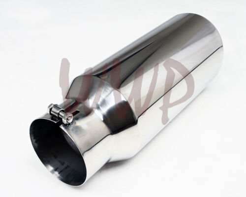 """Polished Stainless Bolt On Angle Cut Roll Exhaust Tip 5/"""" Inlet 7/"""" Outlet 15/""""Long"""