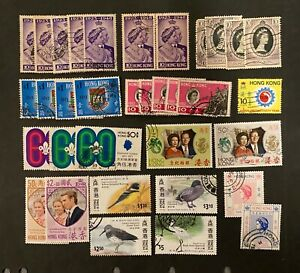 Hong Kong Collection of 34 used stamps from 1948-1978.