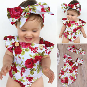 0b5261333f01 2pcs Flower Newborn Baby Girls Jumpsuit Romper Bodysuit+ Headband ...