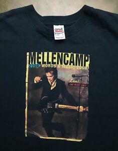Mens-L-2005-John-Mellencamp-LIVE-Words-amp-Music-Concert-Tour-Black-T-Shirt-EUC