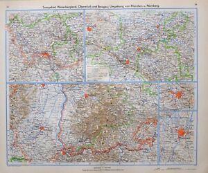 1943 Landkarte Weser Bergland Munich Basel Saarbrücken Freiburg Herford