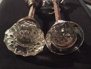 2 PAIR ANTIQUE CRYSTAL KNOBS SETS-VICTORIAN-CLEAN 12-PT LOOK & SMOOTHE NICE!!