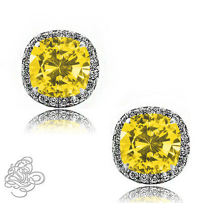 2.49 CT HALO CUSHION CANARY WHITE SAPPHIRE 925 STERLING SILVER STUD EARRINGS