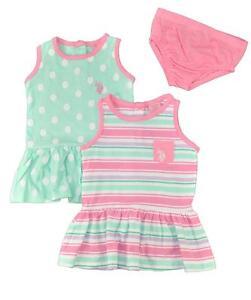 Us Polo Assn Baby Girls 2pack Dress Set W Panty 3 6m 6 9m 12m 18m