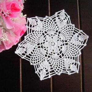 4Pcs-Lot-White-Vintage-Hand-Crochet-Lace-Doilies-Snowflake-Placemats-8inch