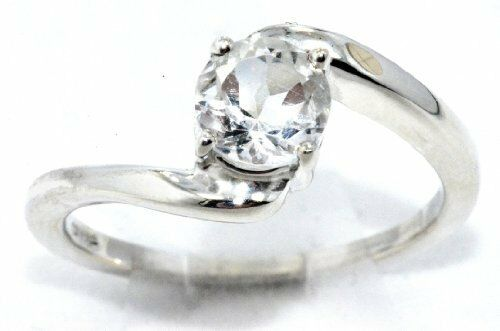 1 Ct White Topaz Round Ring .925 Sterling Silver