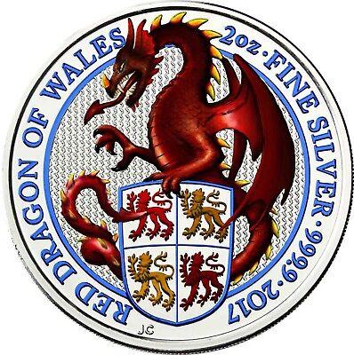 Streng Großbritannien 5 Pfund 2017 Queen's Beasts Drache Von Wales Silbermünze In Farbe Wir Nehmen Kunden Als Unsere GöTter