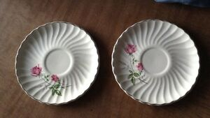 Set-Of-Two-Vintage-Swirled-Saucers-Pretty-Pink-Roses-Silver-Trim