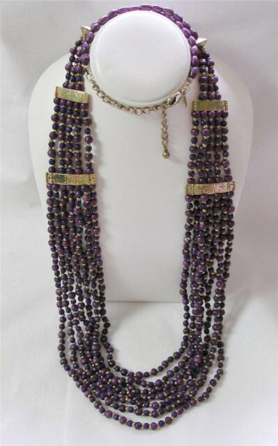 Chico/'s Terrin Long Necklace Plum Purple and Gold Beads Multi Strand
