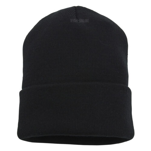 NEW *BLACK* PLAIN BEANIE HAT KNITTED SLOUCH WINTER WOOLY CAP WARM WOOLLY KNIT