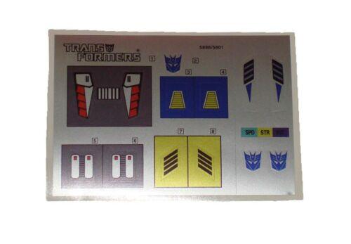 G1 Weirdwolf Complete Sticker Decal Sheet