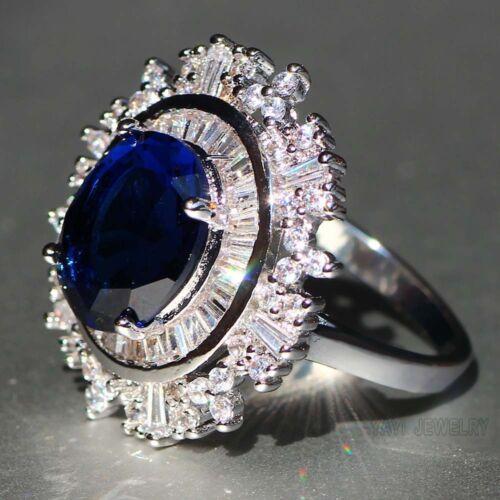 Fashion SAPHIR BLEU Argent 925 Rempli Mariage Band Heart Ring Bijoux Cadeau