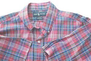 Red-Plaid-Ralph-Lauren-Blake-Large-Mens-Shirt-Collar-Button-Up-Cotton-Casual