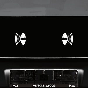 2-Autocollant-8cm-Blanc-Haut-Parleur-Symbole-Auto-Porte-Tattoo-Deco-Depeche-Mode