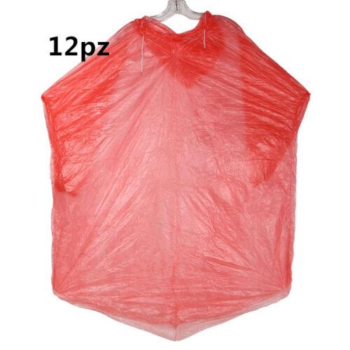12pz Mantella Poncio Poncho Usa e Getta Impermeabile Anti Pioggia con cappuccio