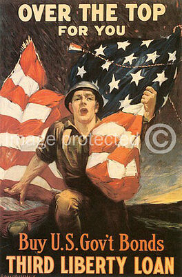 Over Top For You World War I US Military Vintage Poster 18x24