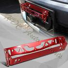 JDM Red Aluminum Bumper Adjustable Tilt License Plate Bracket Kit Universal 2