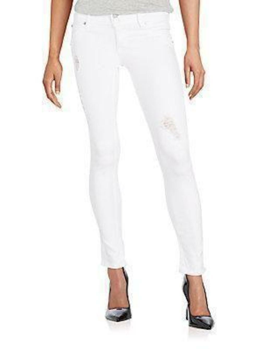 Hudson Collin Flap Skinny Ankle Jeans Distressed White 25 &  26  NEW