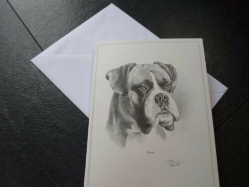 Boxer Dog Card Blank inside Greeting Card with Envelope