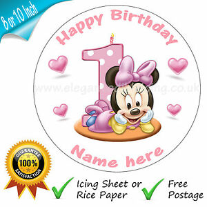 Admirable Baby Minnie Mouse 1St Birthday Cake Personalised Edible Round Cake Funny Birthday Cards Online Alyptdamsfinfo