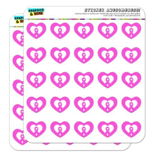Breast Cancer Awareness Pink Ribbon Heart Planner Scrapbook Craft Stickers