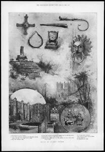 1898-Antique-Print-County-Durham-Ancient-Relics-Castle-Courtyard-Duncow-106