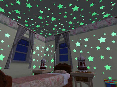 24pcs 3D Moon Stars Green Ceiling Wall Room Decal Stickers Chic Glow in the Dark