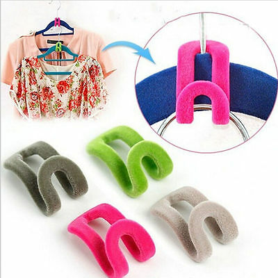 10pcs Home Creative Mini Flocking Clothes Hanger Closet Organizer For Wardrobe