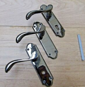 Pair Of Florida Polished Black Nickel Lever Door Mortise