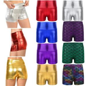 2127acd0deec Girls Kids Metallic Shiny Hot Pants High Waist Shorts Dance Gym ...