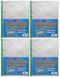 100 x Extra Strong A4 Plastic Wallets 90 Micron + Glass Clear Poly Pockets Files 710500100048