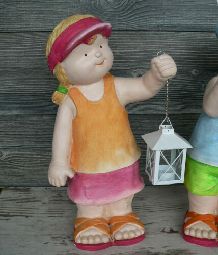 Kinder mit Laterne 2er Set 40cm groß Figur Garten wetterfest Sommer Kind bunt