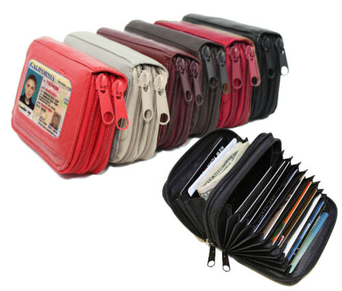 LADY/'S GENUINE LEATHER ACCORDION ZIP WALLET CREDIT CARD ORGANIZER USA Seller