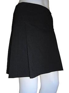 Damen Mädchen Schule Schwarz Gefalteter Midi-Rock Stretch 6 8 12 14 16 Pl-Sk