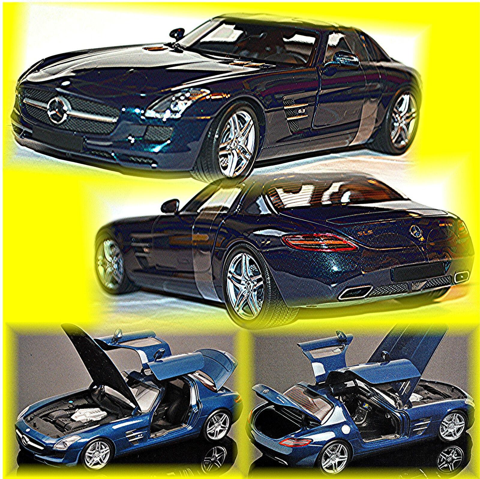Mercedes Benz SLS AMG Coupe bluee Metallic 1 18 Minichamps
