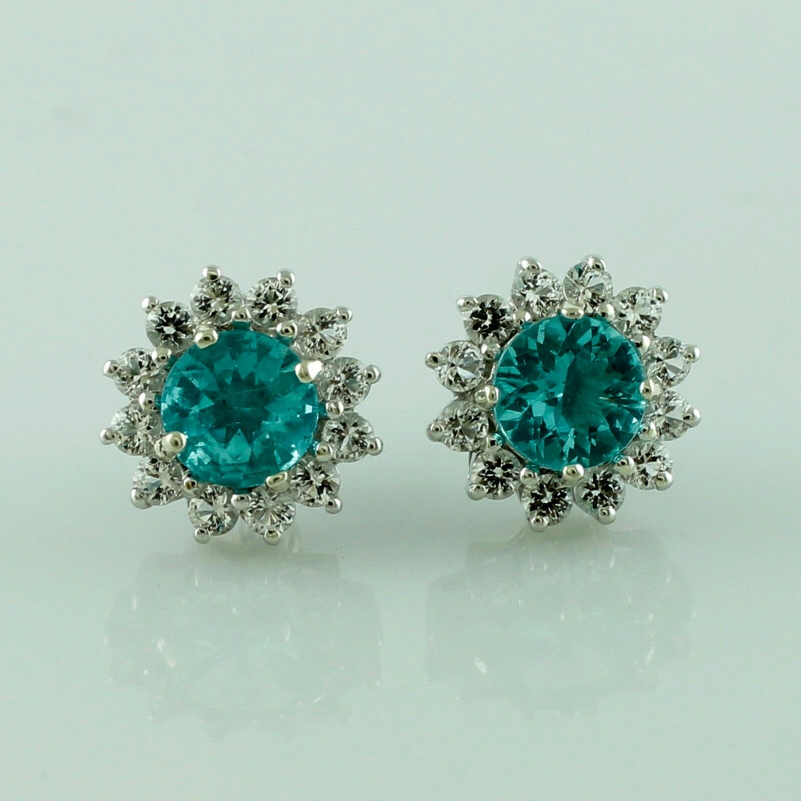 bluee Apatite Stud Halo Earring White Topaz 10K White gold Cluster Lady Jewelry