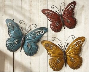 Set Of 3 Colorful Butterfly Metal Scroll Wall Art Hangings Indoor Outdoor Dec