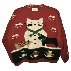 Vtg-80-s-Knitted-Pullover-Sweater-Size-SM-Cats-N-Dogs-Design-Handmade-100-Wool