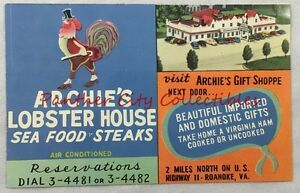 Image Is Loading Vintage Postcard Archie 039 S Lobster House Roanoke