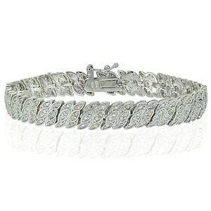 Natural Diamond Accent Marquise S Bracelet in Gold Rose or Silver Plated Brass
