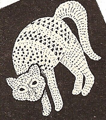 Vintage Crochet PATTERN to make Cat Motif Halloween Applique