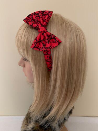 Red black print headband hair bow rockabilly pin up girl retro vintage victorian