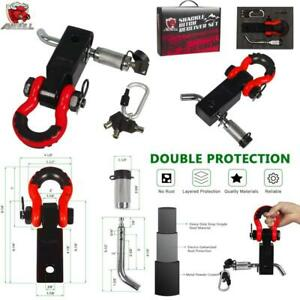 2 Insurance Pins with 3//4 Inch D-Ring Shackle Locking Pin AMBULL Shackle Hitch Receiver 2 Inch Blue Heavy Duty Solid Recovery Kit