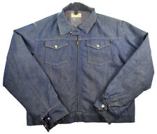 Vtg 50s 60s Era Jean Denim Jacket M L Snap Scovill Zip Blanket Lined Mens Coat