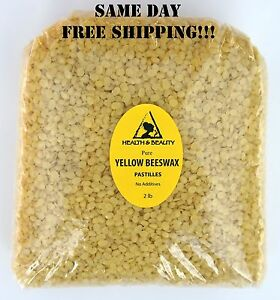 YELLOW-BEESWAX-BEES-WAX-by-H-amp-B-Oils-Center-ORGANIC-PASTILLES-BEADS-32-OZ-2-LB