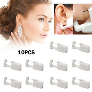 Professional Steel Ear Nose Navel Body Piercing Gun Studs Tool Kit 10pcs G
